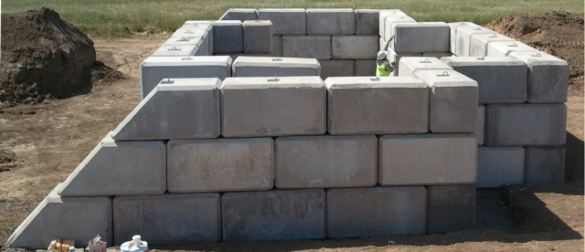 Large Concrete Block Blast Barrier